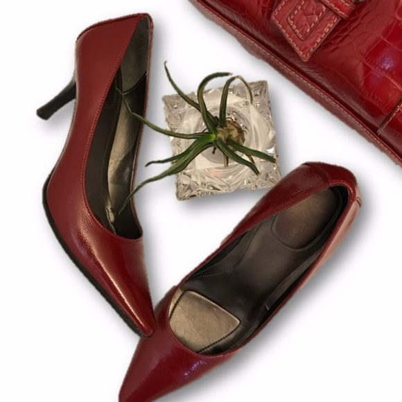 457553c9d0a Calvin Klein Shoes - Calvin Klein Leather Dolly Pumps in Red size 6.5